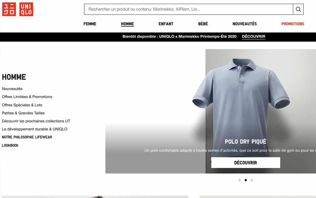 Uniqlo site de vêtements en ligne