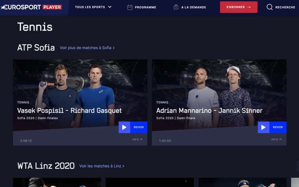 EuroSport tennis streaming