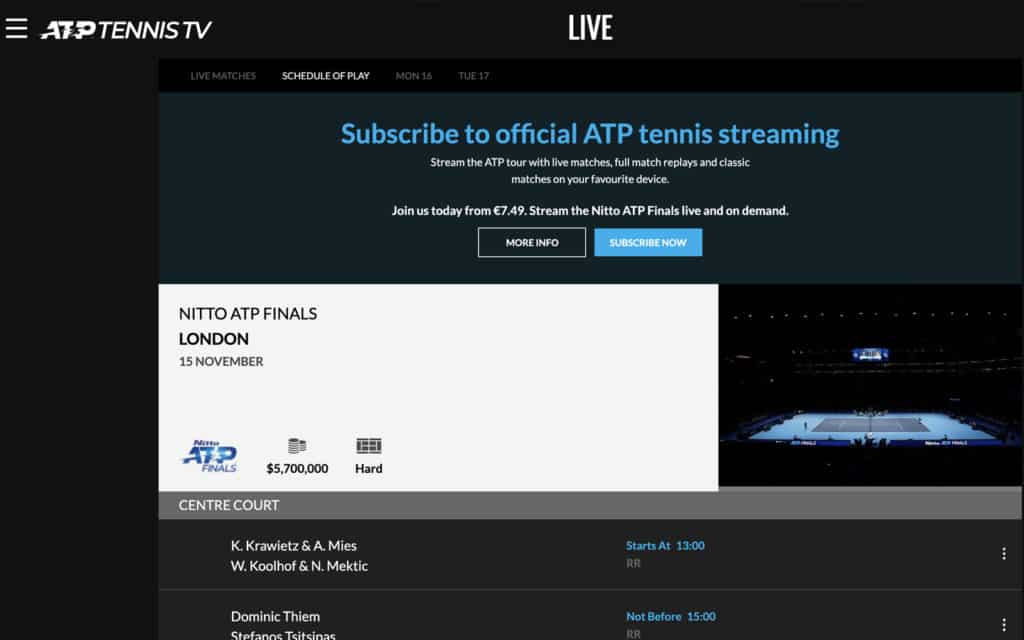 ATP Tennis tennis streaming