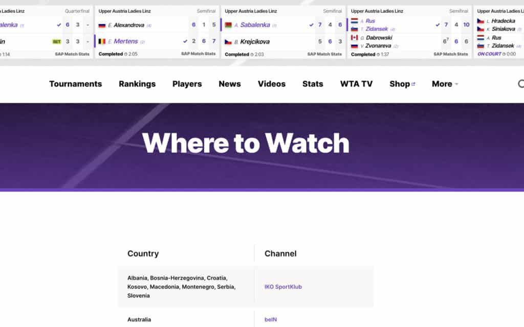 WTA TV tennis streaming